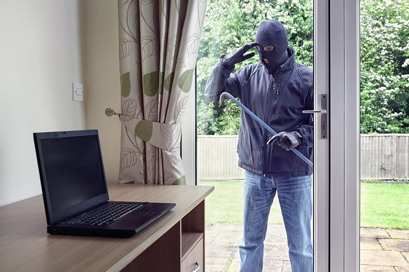 a burglar looking into a house