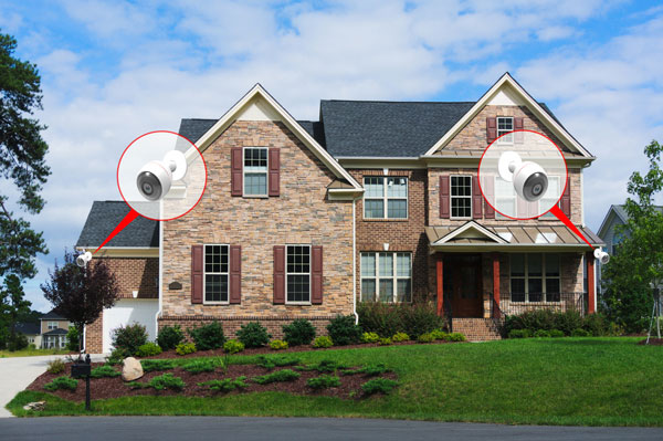 a house with security cameras