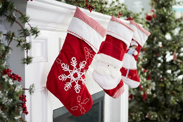 Christmas stockings hung over a chimney