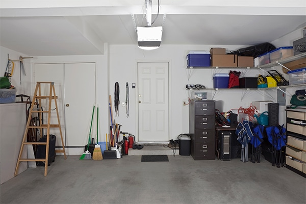 inside the garage of a house