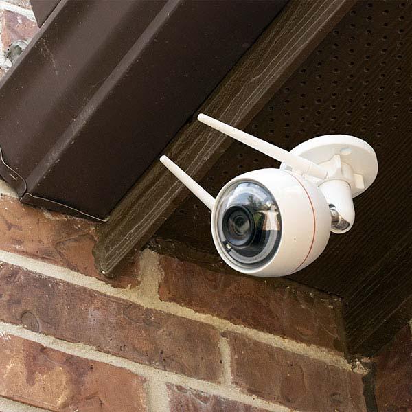 an outdoor home security camera