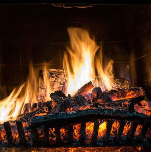 a fire in a fireplace