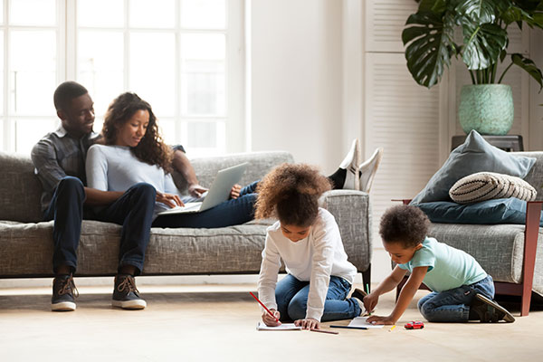 a family relaxing in their living room
